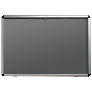 Image of Nobo Display Cabinet Noticeboard / Lockable / A0 / W1255xH965mm / Grey
