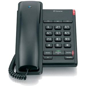 Image of BT Converse 2100 Telephone 1 Redial Mute Function 3 Number Memory Black Ref 040206