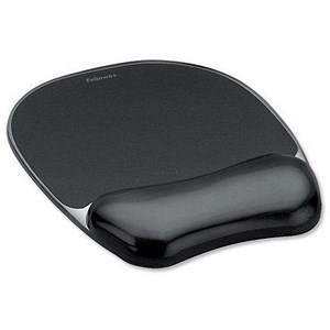 Image of Fellowes Crystal Mouse Mat Pad with Wrist Rest / Gel / Black