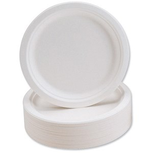 Image of Biodegradable Microwaveable Rigid Plates / 230mm Diameter / Pack of 50