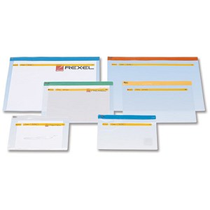 Image of Rexel Active Zip Bag Heavyweight / Clear PVC with Coloured Seal / A4 / Assorted / Pack of 30