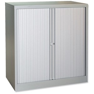 Image of Trexus Low Steel Tambour Cupboard - Grey