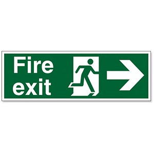Image of Stewart Superior Fire Exit Sign Man and Arrow Right 600x200mm Polypropylene Ref SP079PVC