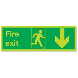 Image of Stewart Superior Fire Exit Man Arrow Down Self Adhesive Sign Standard Ref SP0801PLV