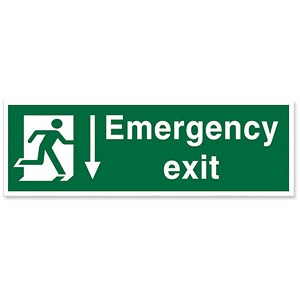 Image of Stewart Superior Fire Exit Sign Emergency Exit 600x200mm Self-adhesive Vinyl Ref SPO54SAV