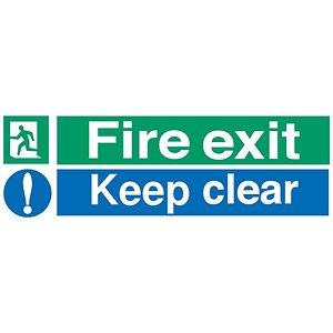 Image of Stewart Superior Fire Exit Sign Keep Clear 600x200mm Self-adhesive Vinyl Ref SP055SAV