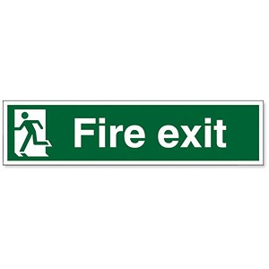 Image of Stewart Superior Fire Exit Sign Man to Left 600x150mm Polypropylene Ref SP083PVC