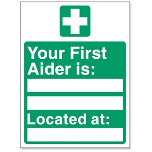 Image of Stewart Superior Your First-Aider Is Located At Self Adhesive Sign Ref SP049PVC