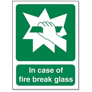 Image of Stewart Superior In Case Of Fire Break Glass Self Adhesive Sign Ref SP074SAV