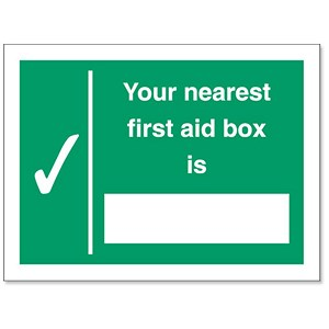 Image of Stewart Superior Your Nearest First-Aid Box Is Self Adhesive Sign Ref SP075PVC