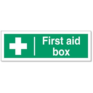 Image of Stewart Superior First-Aid Box Self Adhesive Sign Ref SP058PVC
