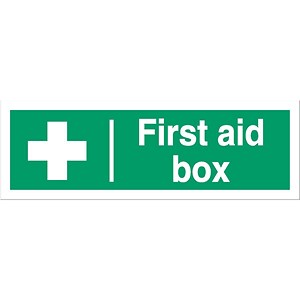 Image of Stewart Superior First-Aid Box Self Adhesive Sign Ref SP058SAV