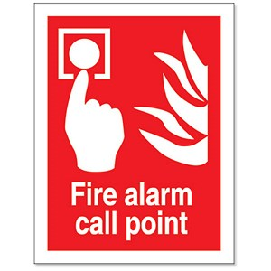 Image of Stewart Superior Fire Alarm Call Point Self Adhesive Sign Ref FF073PVC