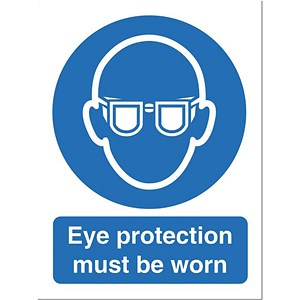 Image of Stewart Superior Eye Protection Must Be Worn Self Adhesive Sign Ref M004SAV