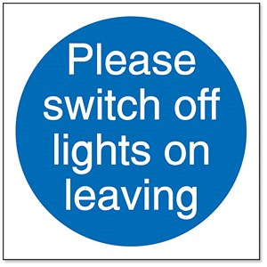 Image of Stewart Superior Please Switch Off Lights Self Adhesive Sign Ref M013SAV [Pack 5]