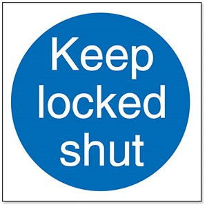 Image of Stewart Superior Keep Locked Shut Self Adhesive Sign Ref M016SAV [Pack 5]