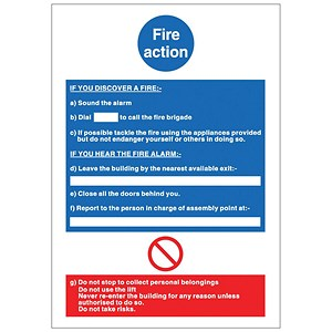 Image of Stewart Superior Fire Action Self Adhesive Sign Ref M011PVC