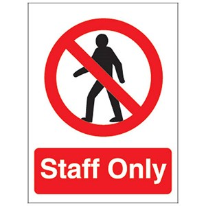 Image of Stewart Superior Staff Only Self Adhesive Sign Ref PO85PVC