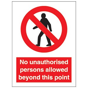 Image of Stewart Superior No Unauth P-Sons Beyond Point Self Adhesive Sign Ref P099PVC