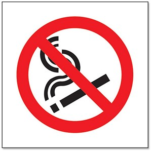 Image of No Smoking Sign 150x150mm White Self-adhesive PVC (Semi-rigid)