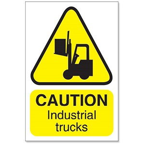Image of Stewart Superior Caution Industrial Trucks Sign for Outdoor Use Foamboard Ref FB032