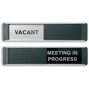 Image of Sliding Sign Vacant and Meeting In Progress Self Adhesive 255x52mm