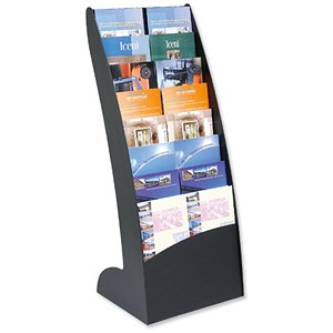 Image of Curved Literature Display Holder / 8x20mm Compartments / Black