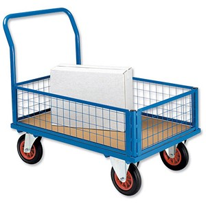 Image of 5 Star Mesh Panel Platform Truck - Blue