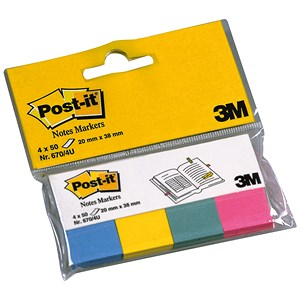Image of Post-it Note Markers - 50 each of Fuchsia, Jade Green, Turquoise & Neon Yellow (4 x 50)