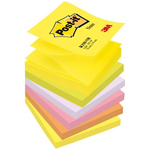 Image of Post-it Z-Notes / 76x76mm / Neon Rainbow / Pack of 6 x 100 Notes