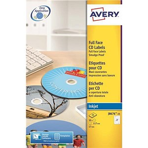 Image of Avery Inkjet CD/DVD Labels / 2 per Sheet / 117mm Diameter / QuickDRY / J8676-25 / 50 Labels