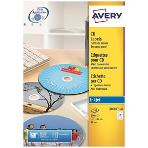 Image of Avery Inkjet CD/DVD Labels / 2 per Sheet / 117mm Diameter / QuickDRY / J8676-100 / 200 Labels