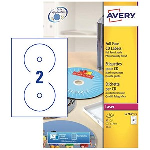 Image of Avery Laser CD/DVD Labels / 2 per Sheet / 117mm Diameter / Photo Quality Glossy Colour / L7760-25 / 50 Labels