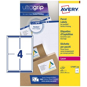 Image of Avery BlockOut Jam-free Laser Addressing Labels / 4 per Sheet / 139x99.1mm / White / L7169-250 / 1000 Labels