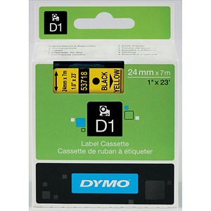 Image of Dymo D1 Tape for Electronic Labelmakers 24mmx7m Black on Yellow Ref 53718 S0720980