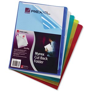 Image of Rexel Nyrex Cut Back Folders / A4 / Assorted / Pack of 25