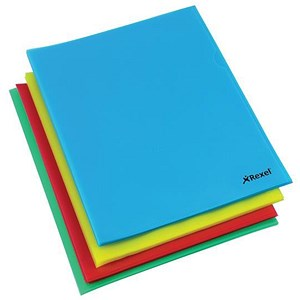 Image of Rexel Cut Back Folders / Polypropylene / Copy-secure / Embossed Finish / A4 / Assorted / Pack of 100