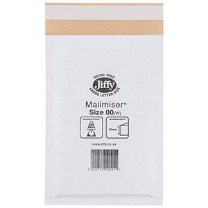 Image of Jiffy Mailmiser No 00 Bubble-lined Protective Envelopes / 115x195mm / White / Pack of 100