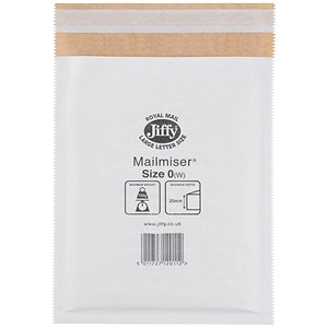 Image of Jiffy Mailmiser No.0 Bubble-lined Protective Envelopes / 140x195mm / White / Pack of 100