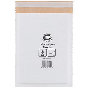 Image of Jiffy Mailmiser No.1 Bubble-lined Protective Envelopes / 170x245mm / White / Pack of 100