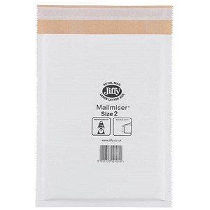 Image of Jiffy Mailmiser No.2 Bubble-lined Protective Envelopes / 205x245mm / White / Pack of 100