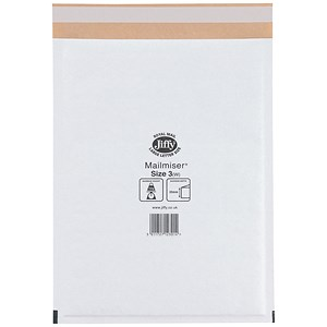 Image of Jiffy Mailmiser No.3 Bubble-lined Protective Envelopes / 220x320mm / White / Pack of 50