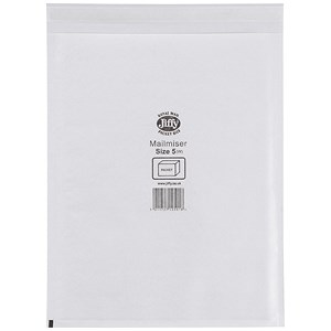 Image of Jiffy Mailmiser No.5 Bubble-lined Protective Envelopes / 260x345mm / White / Pack of 50