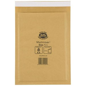 Image of Jiffy Mailmiser No.1 Bubble-lined Protective Envelopes / 170x245mm / Gold / Pack of 100