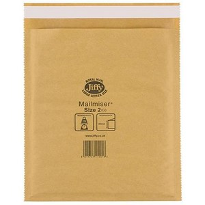 Image of Jiffy Mailmiser No.2 Bubble-lined Protective Envelopes / 205x245mm / Gold / Pack of 100
