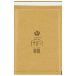 Image of Jiffy Mailmiser No.3 Bubble-lined Protective Envelopes / 220x320mm / Gold / Pack of 50