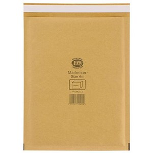 Image of Jiffy Mailmiser No.4 Bubble-lined Protective Envelopes / 240x320mm / Gold / Pack of 50