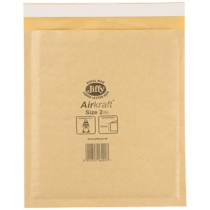 Image of Jiffy Airkraft No.2 Bubble Bag Envelopes / 205x245mm / Gold / Pack of 100