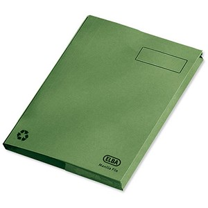 Image of Elba Clifton Flat File with Front Pocket 285gsm Capacity 50mm Foolscap Green Ref 100090179 [Pack 25]