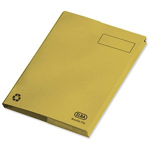 Image of Elba Clifton Back Pocket Flat File / 285gsm / 50mm / Foolscap / Yellow / Pack of 25